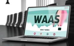 Bärbar datorskärm med det Waas begreppet 3d arkivfoto