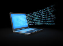 bärbar datorström för binära data Arkivfoto