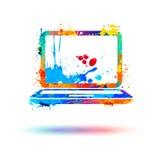 Bärbar datorsymbol Färgstänkmålarfärg Fotografering för Bildbyråer