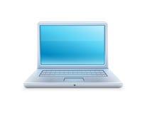 Bärbar datorsymbolen med blått tömmer skärmen Arkivfoto
