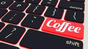 bärbar datortangentbord med den röda knappen för kaffeavbrott, arbetsbegrepp illustration 3d royaltyfri illustrationer