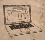 Bärbar datorteckning royaltyfri illustrationer