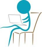 bärbar datorworking royaltyfri illustrationer