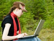 bärbar datorworking Royaltyfria Foton