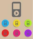 Bärbar musikalisk spelare med färgvariationer, Arkivbilder