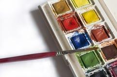 Bärbar vattenfärguppsättning med målarpenseln Fotografering för Bildbyråer