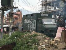 Bärbara mobila toaletter i Katmandu Royaltyfri Bild