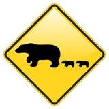 Bären-Überfahrt-WARNING Stockfotos