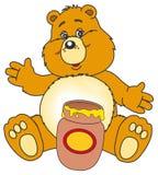 Bären- und Honigglas Stockbild