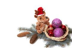 Bären- und Weihnachtsdekorationen. Lizenzfreies Stockbild