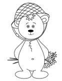 Bärenjunges in einem Sturzhelm mit einem Blumenstrauß, einfarbig Lizenzfreie Stockfotografie