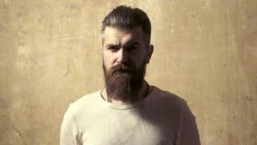 Bärgad man med långt skägg Studio-bild av unga man som tittar på kameran Handsome modeman hipster Röststil stock video