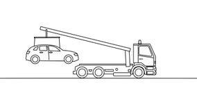 Bärgningsbil som upp väljer ett medel, på vit bakgrund stock illustrationer