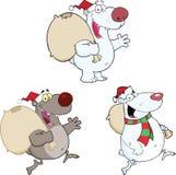 Bärn-Charaktere mit Weihnachtstasche Getrennt auf Weiß Lizenzfreies Stockfoto