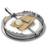 Bärnfalle und -Mausefalle mit Euromünze lizenzfreie abbildung