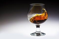 Bärnstensfärgad alkoholdrinkfärgstänk i exponeringsglas Royaltyfria Bilder