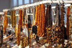 Bärnstensfärgade smycken Arkivfoton