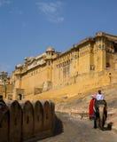 Bärnstensfärgat fort Jaipur Indien Fotografering för Bildbyråer