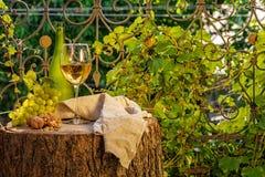 Bärnstensfärgat vin i exponeringsglaset arkivbild