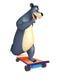 Bärnzeichentrickfilm-figur mit skatter Stockbilder