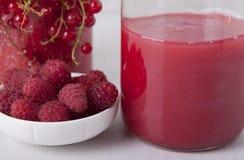 Bärsås som göras från röda vinbär och hallon Arkivfoto