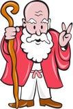 Bärtige alter Mann-Personal-Friedenszeichen-Karikatur Stockfoto