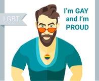 Bärtige Manngläser Vektorillustration Hippies Flache Art Slogan des homosexuellen Stolzes LGBT-Paarmitglied Lizenzfreies Stockfoto