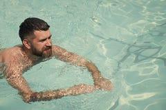 Bärtige Mannschwimmen im blauen Wasser Sommerferien und -reise zum Ozean Entspannen Sie sich im BadekurortSwimmingpool, Erfrischu lizenzfreie stockfotografie