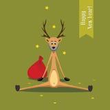 Bärtige Rotwild der Weihnachtskarte Lizenzfreie Stockbilder