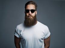 Bärtiger gutaussehender Mann mit Sonnenbrille Stockfoto