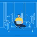 Bärtiger Guy Working auf Laptop auf blauem Hintergrund vektor abbildung
