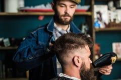 Bärtiger Kunde des Hippies, der Frisur erhält Anreden des Konzeptes Friseur mit hairdryer Trockner und anreden Haar des Kunden Lizenzfreie Stockfotografie