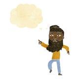 bärtiger Mann der Karikatur, der die Weise mit Gedankenblase zeigt Lizenzfreies Stockbild