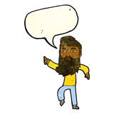 bärtiger Mann der Karikatur, der die Weise mit Spracheblase zeigt Lizenzfreie Stockbilder