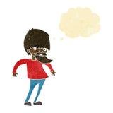 bärtiger Mann der Karikatur, der Schultern mit Gedankenblase zuckt Stockfotografie