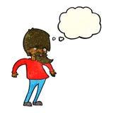 bärtiger Mann der Karikatur, der Schultern mit Gedankenblase zuckt Stockfotos