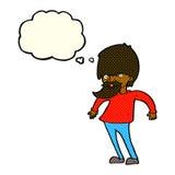 bärtiger Mann der Karikatur, der Schultern mit Gedankenblase zuckt Stockbild
