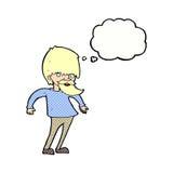 bärtiger Mann der Karikatur, der Schultern mit Gedankenblase zuckt Lizenzfreie Stockfotografie