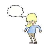 bärtiger Mann der Karikatur, der Schultern mit Gedankenblase zuckt Lizenzfreies Stockbild