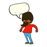 bärtiger Mann der Karikatur, der Schultern mit Spracheblase zuckt Lizenzfreie Stockbilder