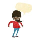 bärtiger Mann der Karikatur, der Schultern mit Spracheblase zuckt Stockfoto
