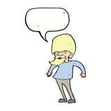 bärtiger Mann der Karikatur, der Schultern mit Spracheblase zuckt Stockbilder