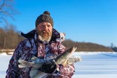 Bärtiger Mann hält gefrorene Fische nach erfolgreichem Winterfischen am kalten sonnigen Tag Stockbild