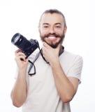 Bärtiger Mann mit einer Digitalkamera Stockbild