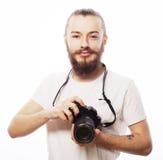 Bärtiger Mann mit einer Digitalkamera Stockfotos