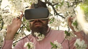 Bärtiger Mann in VR-Gläsern sonnigen Tag in bloooming Garten genießend Überraschter gut aussehender Mann mit empfindlichen we stock video