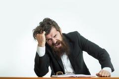 Bärtiger Mannlehrer bei Tisch Stockbilder