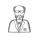 Bärtiger Wissenschaftler in der Laborkittelskizze Stockbilder