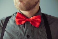 Bärtiges Gesicht und ein rotes bowtie auf dem Hemd Stockbild