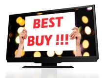 Bäst Buy modern tv för lcd arkivfoton